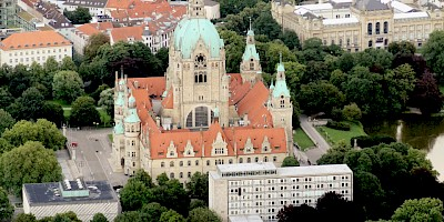 Aerial View of the historic Town Hall of Hannover – Picture: DMZV